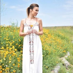 Lauren Conrad White Embroidered Maxi Dress